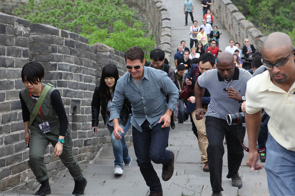 Tom Cruise ran at the Great Wall of China.