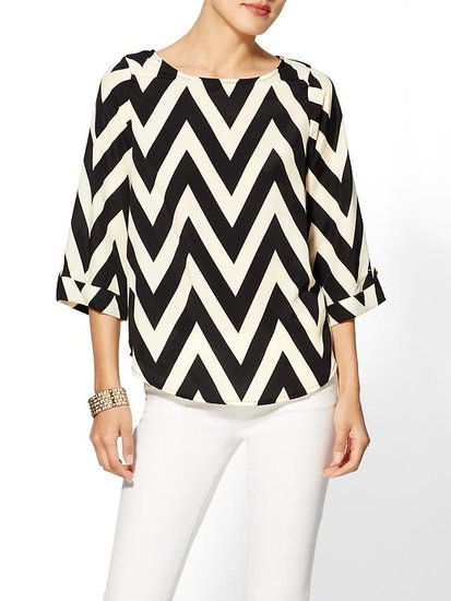 Chevron addicts can indulge the passion with Everly's graphic blouse ($49). The strong lines create a statement that's anything but an optical fashion illusion.