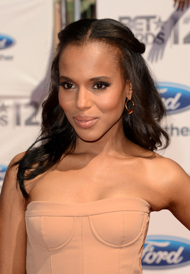 Why not add a middle part to your half-up hairstyle to get Kerry's look from the 2011 BET Awards? Just add a smoky eye and a nude lipstick.