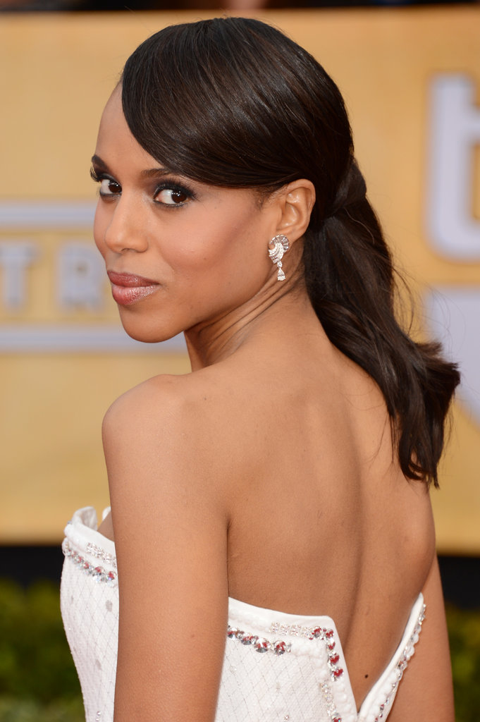 At the SAG Awards, Kerry complemented her strapless gown with a back-grazing ponytail and swooped bangs.