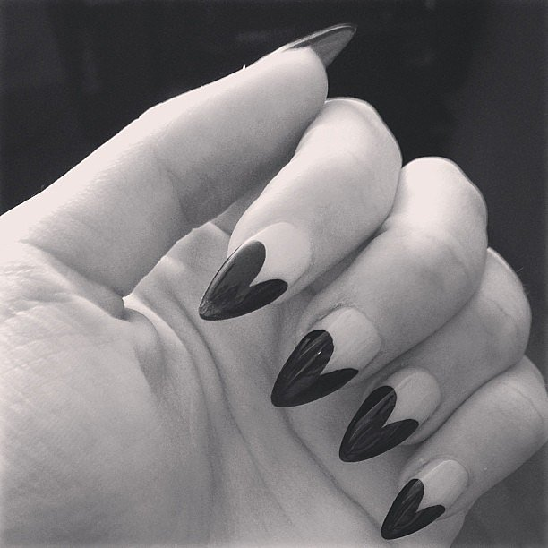 This heart-shaped manicure was just darling on Emma Roberts. Source: Instagram user emmaroberts6