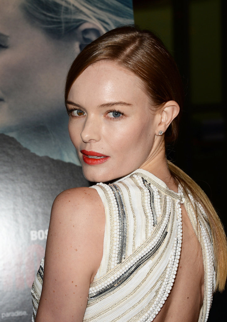At a screening of Black Rock, Kate Bosworth went with a sleek, low ponytail coupled with a bold tangerine lip.