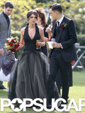 Shenae Grimes wore a black Vera Wang wedding gown for her wedding to Josh Beech outside of London.