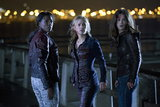 Rutina Wesley as Tara, Anna Paquin as Sookie, and Lucy Griffiths as Nora on True Blood.