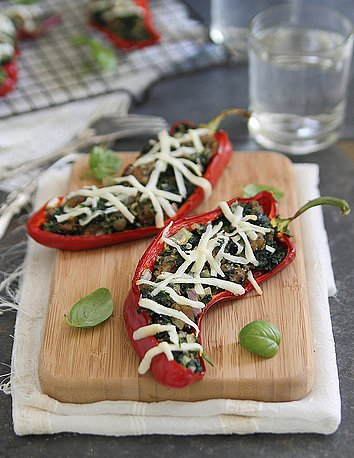 Spinach, Sausage & Ricotta Stuffed Peppers