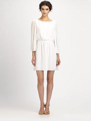 Alice + Olivia Florence Pleated Silk Dress