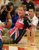 Prince Harry kept his eye on the ball while playing in a sitting volleyball match with the UK Armed Forces during the Warrior Games on Saturday.