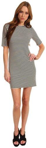 Tibi - Elsa Stripe Short Sleeve Dress (Charcoal/Ivory Multi) - Apparel