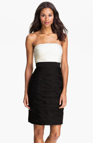 ML Monique Lhuillier Bridesmaids Strapless Two Tone Sheath Dress (Nordstrom Exclusive)
