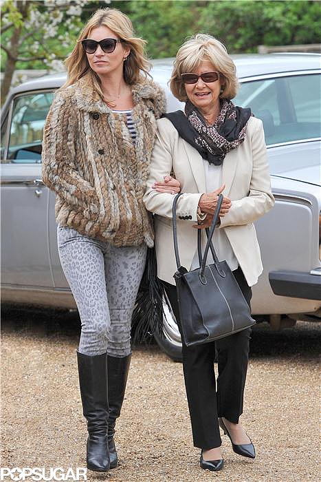 Kate Moss walked arm in arm with her mother-in-law.