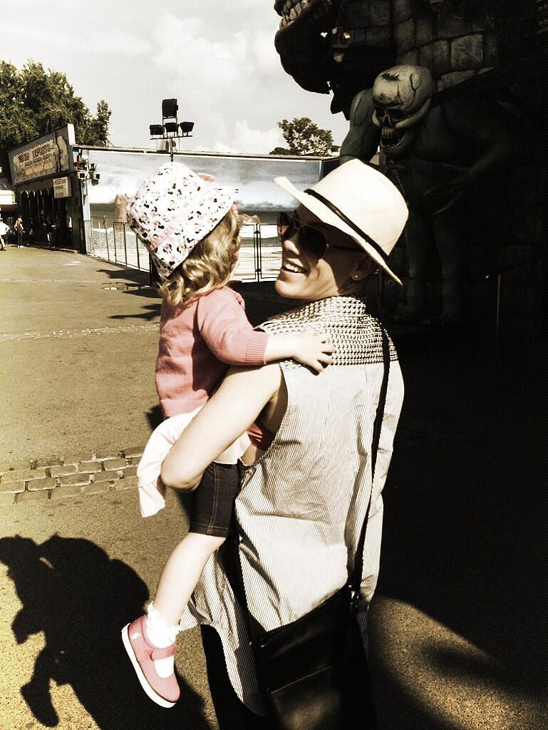 "Pink spent the day with her little Willow, tweeting, ""Thank you @hartluck for giving me the greatest gift of my life, my reason to celebrate today."" Source: Twitter user Pink"