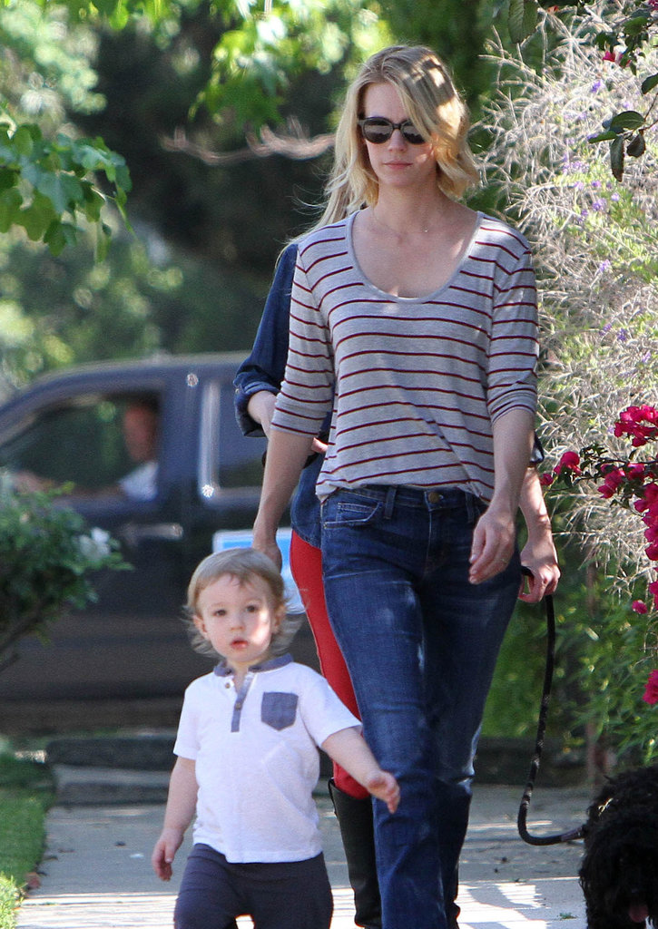 January Jones went for a casual LA walk with her son, Xander, on Saturday.