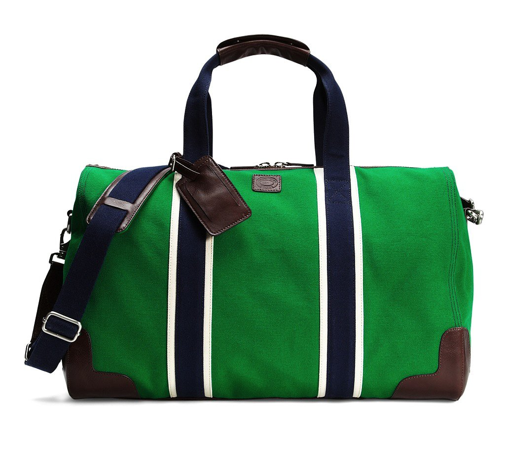 The rich green hue on this preppy Brooks Brothers prep duffel ($348) makes it undeniably fresh, while the pops of navy are a welcome contrast.