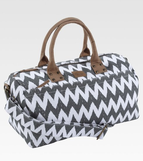 This John Robshaw zig-zag duffel ($190) features a fun chevron print but in colors that are more subdued — the best of both worlds.