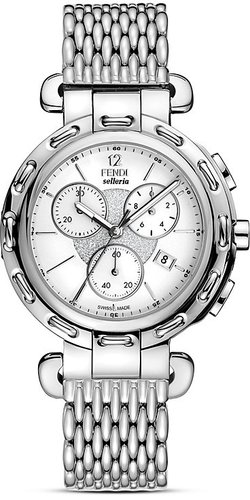 Fendi Selleria Chronograph Watch With White Dial, 40mm