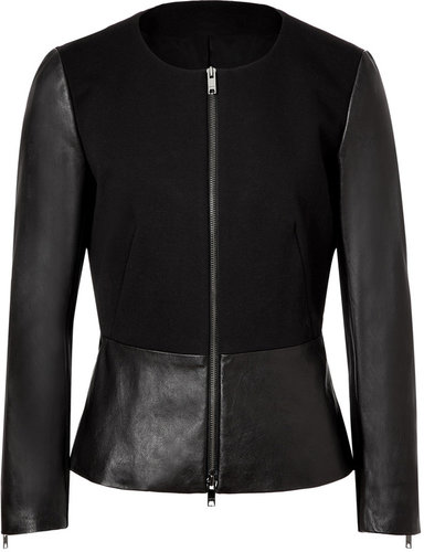 DKNY Black Leather/Cotton Jacket