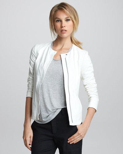 Vince Front-Zip Leather Jacket