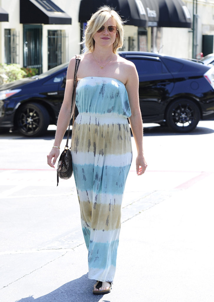 Amy Smart kept it breezy in a strapless tie-dyed maxi dress after getting her hair done in West Hollywood.