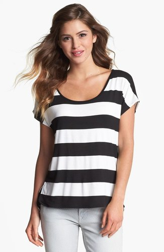 Olivia Moon Button Back Stripe Tee