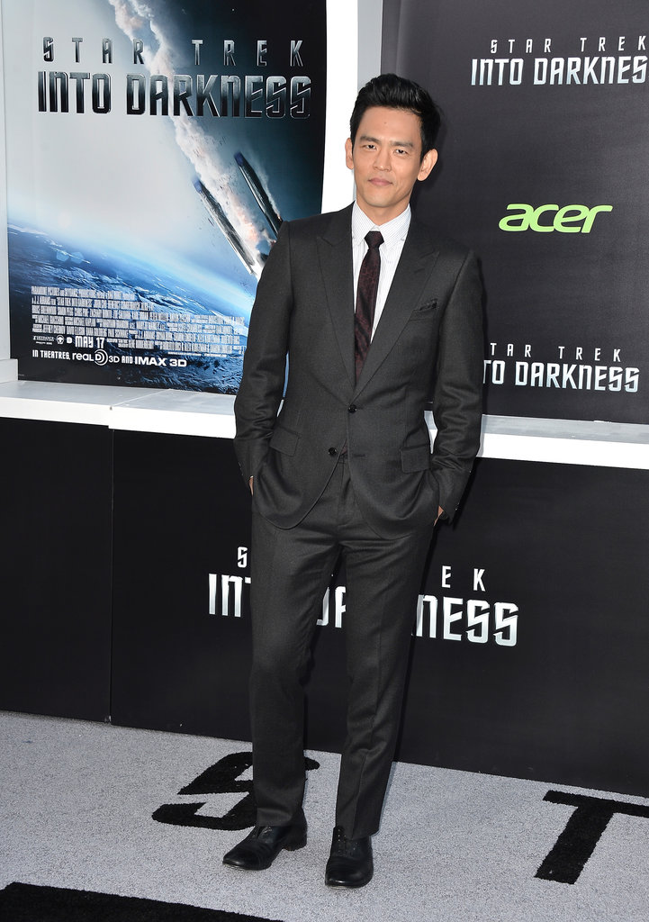 John Cho went for a traditional suit.