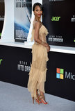 Zoe Saldana wore a sheer dress.