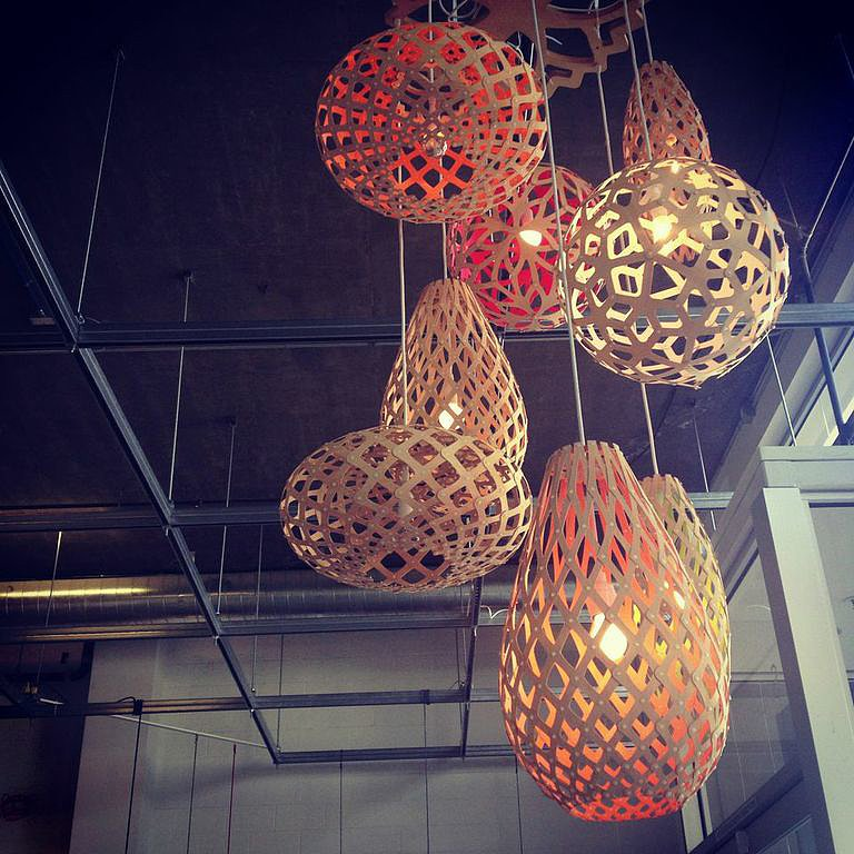 Upon entering A+R Global Design, you're greeted by a cluster of these geometric floral pendants ($300). It's hard to believe these eco-friendly lights can be folded flat!