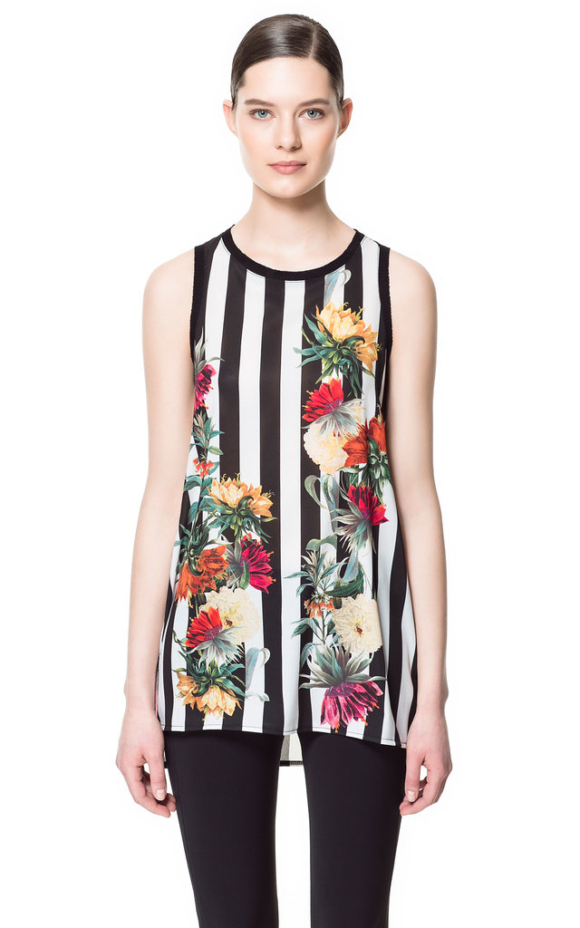 Zara's Stripe and Floral Combination Top ($36) would look great for going out — just add black skinnies and a tough leather jacket.