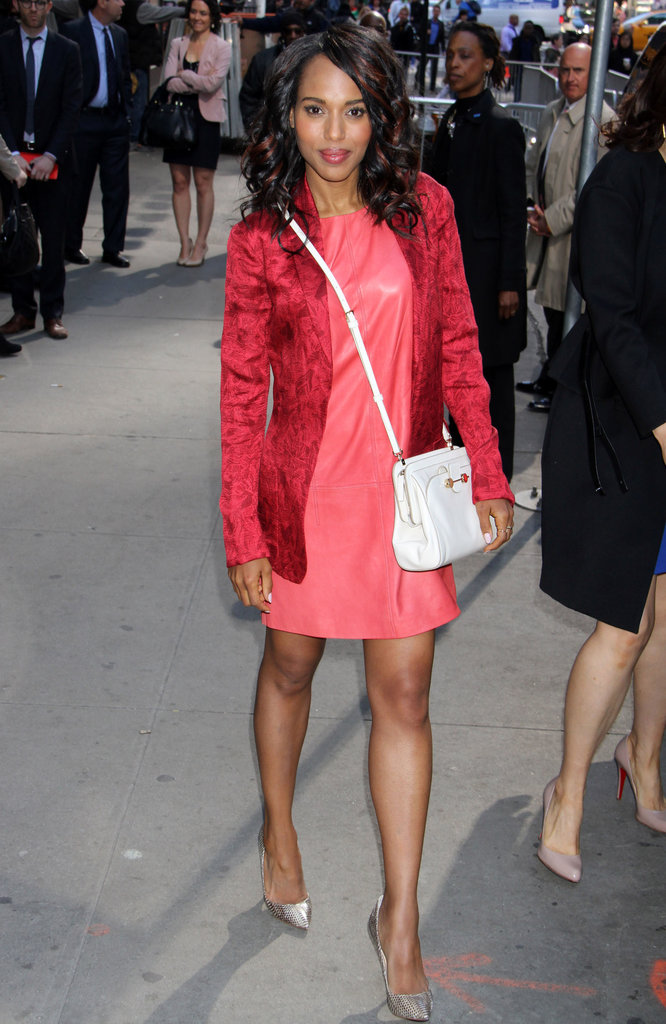 Kerry Washington her love for Jason Wu in this Miss Wu red leather shift dress ($865) and this white Daphne crossbody bag ($1,495) by the designer while out in NYC.
