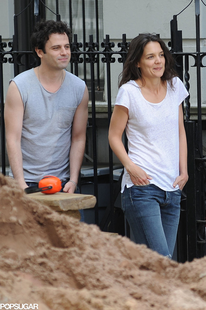 Luke Kirby and Katie Holmes both had their hands in their pockets on set in NYC.
