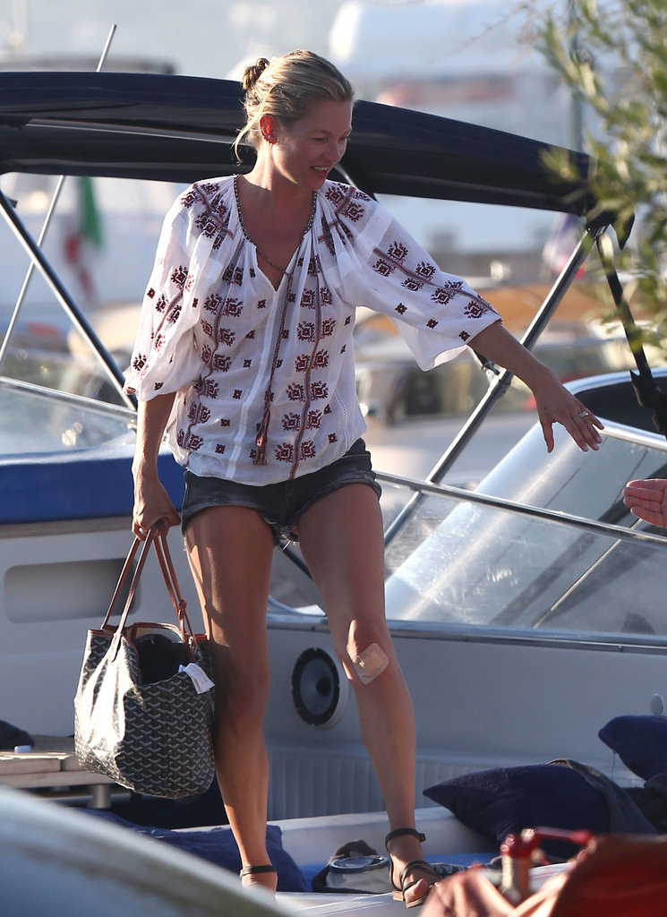 Kate Moss stayed stylish in denim shorts while yachting in St. Tropez in August 2012.