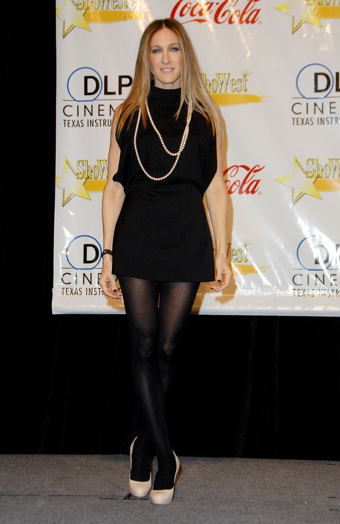 SJP's all-black ensemble, adorned with a few strands of polished pearls, would have made Aubrey Hepburn proud.