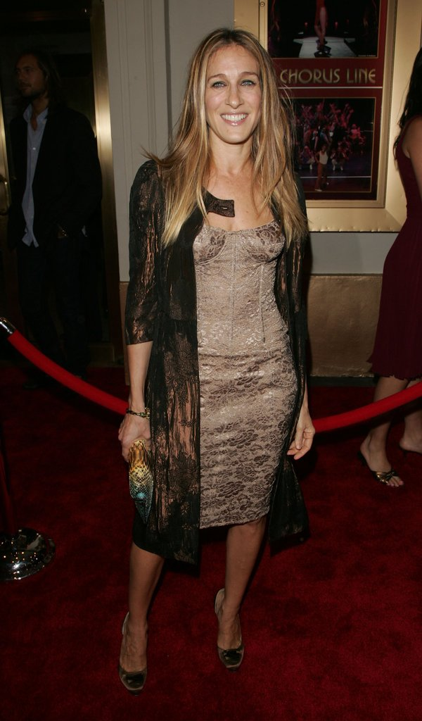 The actress paired a corseted floral dress with lace-overlay coat for the NYC opening of Chorus Line.