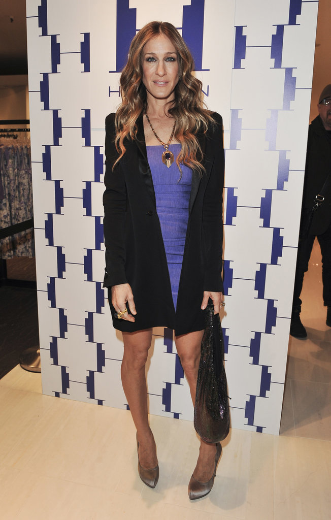 The fashionista donned a purple Halston minidress, oversize blazer, and silver metallic pumps for the March 2010 Halston Heritage Collection launch in Toronto.