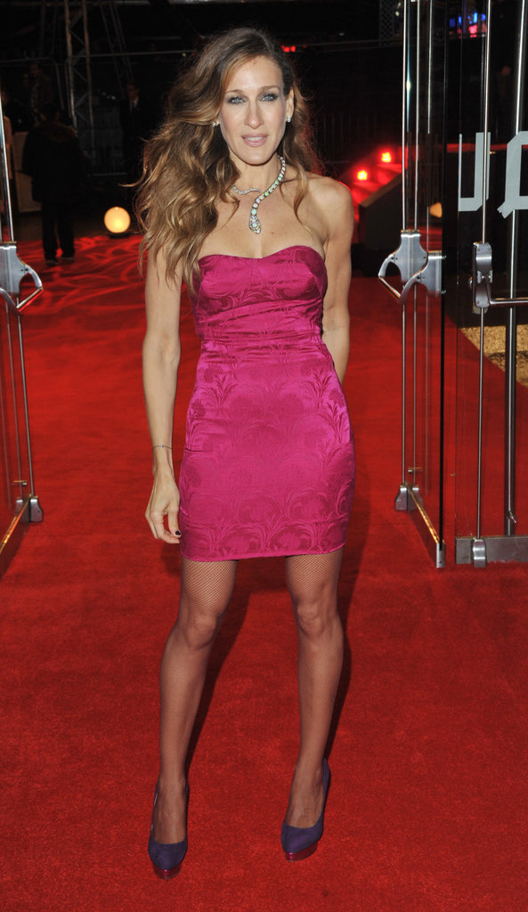 Sarah Jessica Parker took pink and purple from girlie to glam in a strapless L'Wren Scott number and fabulously fun Charlotte Olympia pumps at the Did You Hear About the Morgans London premiere in 2009.