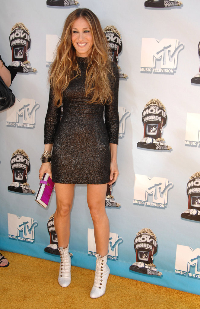 At the 2008 MTV Movie Awards, SJP went Cali cool in a sparkly long sleeve L'Wren Scott and white leather Christian Louboutin lace-ups.