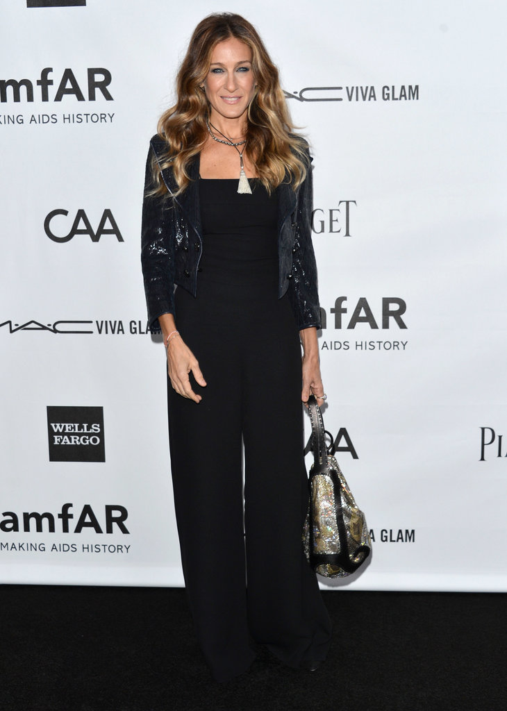 The trendsetter accessorized her black wide-leg Chanel jumpsuit with a navy sequined shrug and not one, but two necklaces — a Fenton black crystal choker and silver tassel creation — at the amFAR Gala in October 2012.