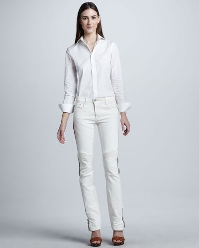 Ralph Lauren Black Label Leather-Stripe Biker Jeans, Plate White