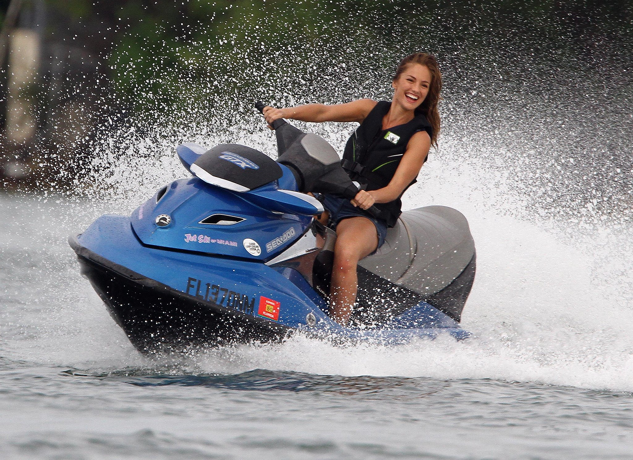 Minka Kelly jet skied off the shore of Miami in October 2011 while filming her made-for-TV reboot, Charlie's Angels.