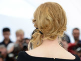 The ponytail boasted some serious texture in the back and was secured with a sweet black ribbon.
