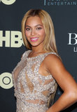 Beyoncé has been sporting a blonde hair hue for a while now. She often styles it in tousled waves or blow dried smooth.