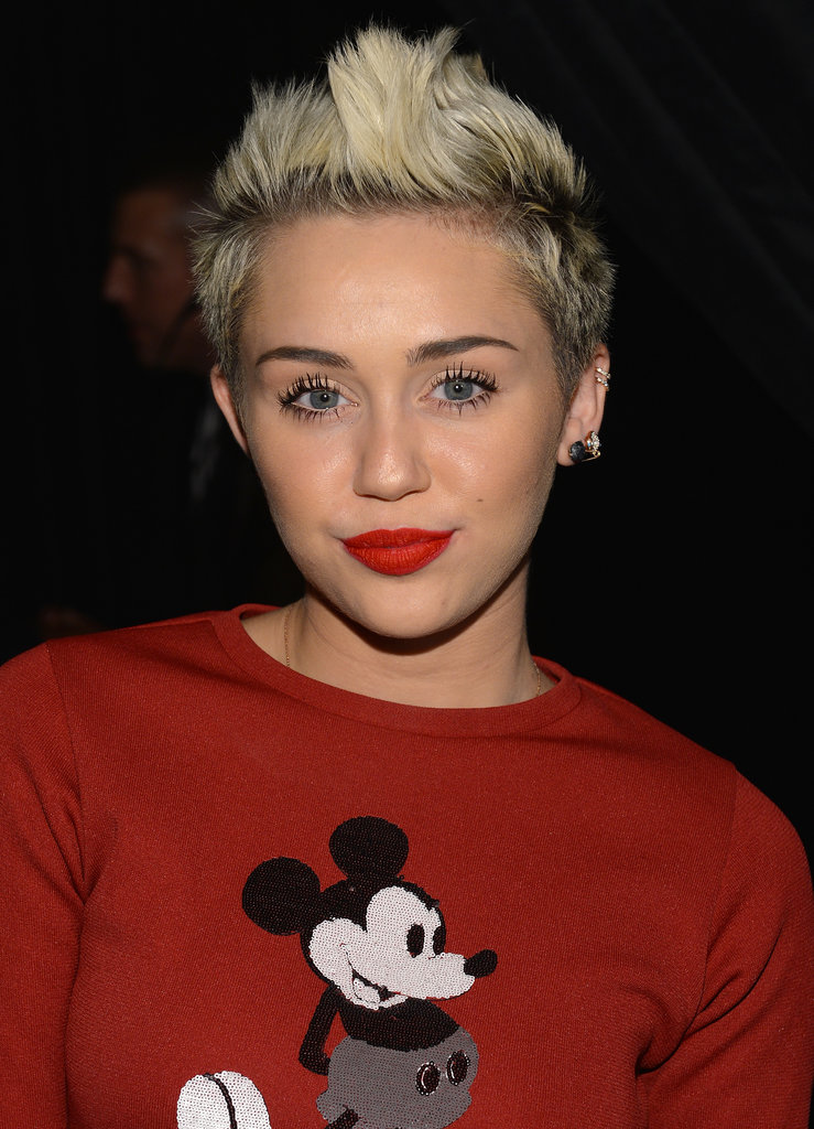 She's changed her hair from long to short and from brown to blond over the past year, but it seems like Miley's sticking to her peroxide hue . . . for now.