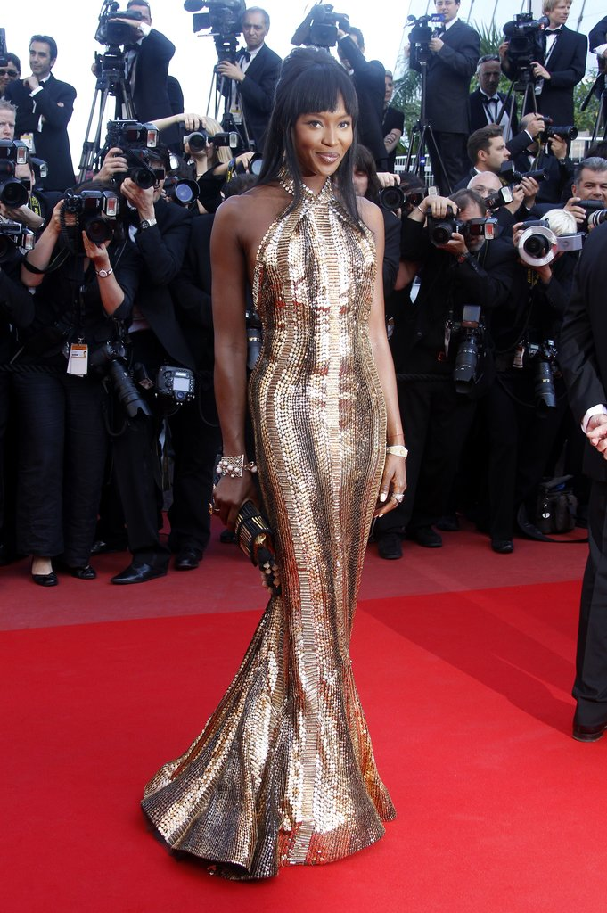 Naomi Campbell wore a custom Roberto Cavalli gown in 2010 for the Cannes premiere of Biutiful.
