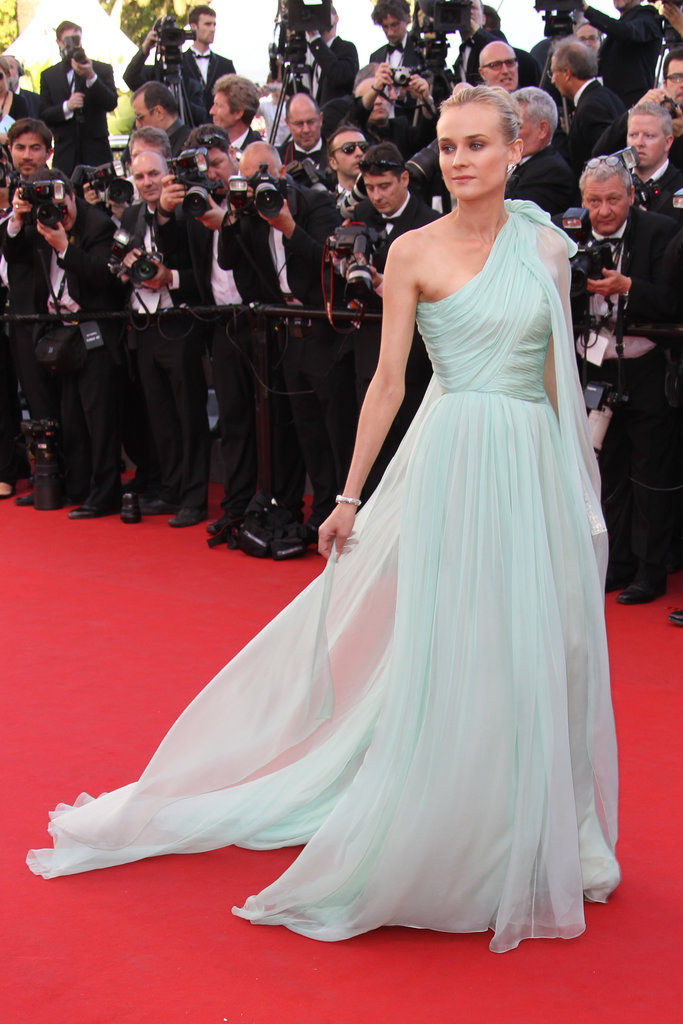 Diane Kruger wore a mint green Giambattista Valli gown at the 2012 Cannes premiere of Moonrise Kingdom.