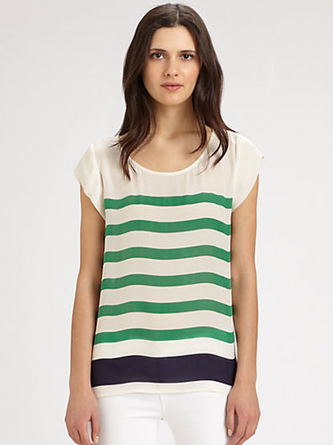 Joie Terry Striped Silk Blouse