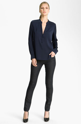 Vince Half Placket Silk Blouse
