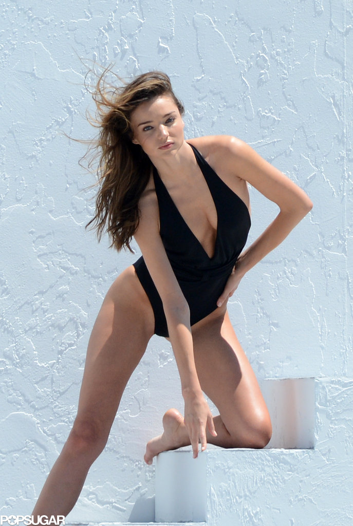 Miranda Kerr got sexy in a swimsuit for a photo shoot in Miami.