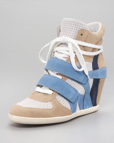 Ash Colorblock Suede Wedge Sneaker
