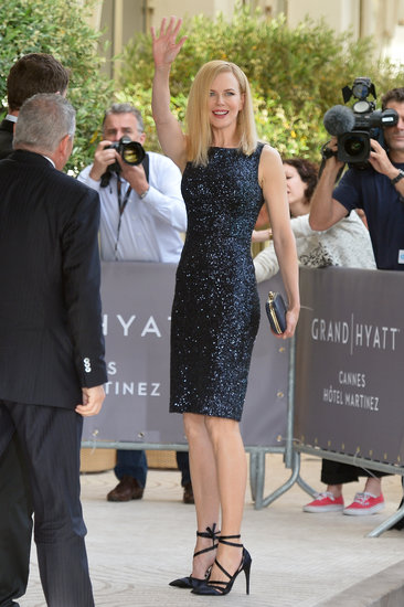Nicole Kidman sparkled in a black sequin Dior sheath dress while waving to fans in Cannes.