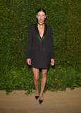 Liberty Ross took a chic menswear approach in Dior's blazer dress at a dinner in honor of Prabal Gurung in LA.