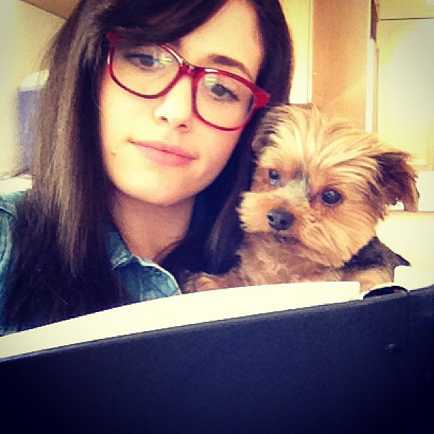 Emmy Rossum's dog helped her memorise her lines. Source: Instagram user emmyrossum
